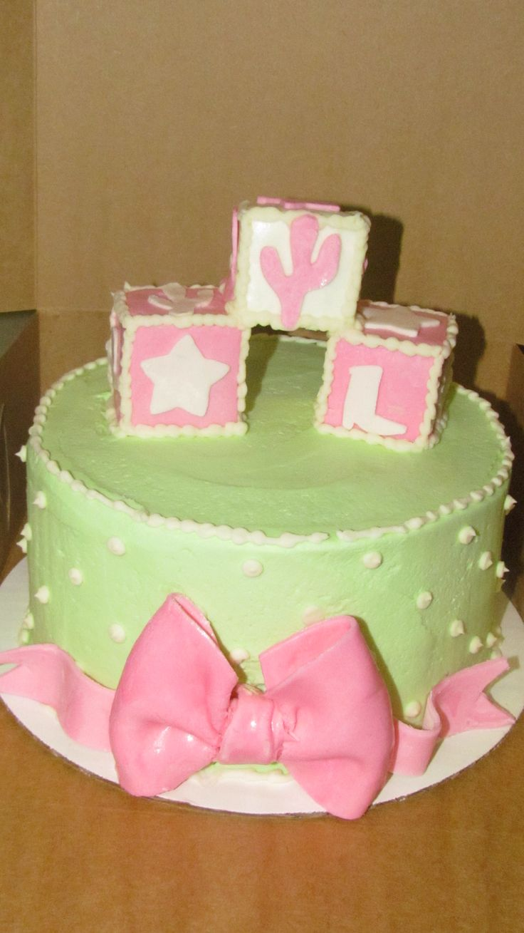 Baby shower cake idea - simple round cake, but we could do layers in ...