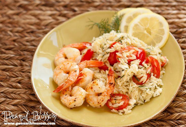Shrimp with lemony orzo & tomato salad   Recipes   Pinterest