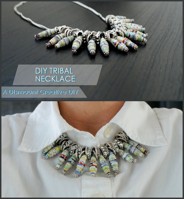 DIY Tribal Necklace Tutorial . Rolled paper beads (not too many, and I love the finished necklace), and a source list that tells you what brand of silver beads they used to the type of chain. It's a very specific, very detailed, easy tutorial. .  #diy #crafts #jewelry #tribal necklace #necklace #paper #rolled paper beads #beading #beads #colorful #upcycle #recycle