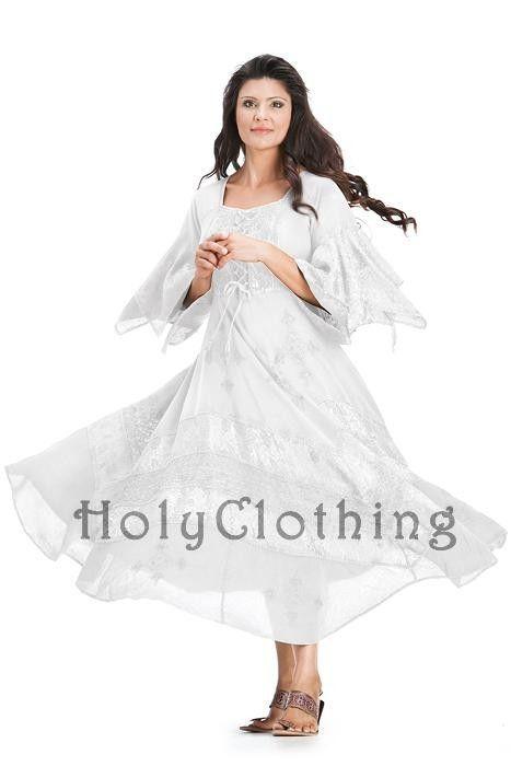 White Ivory Belladonna Peasant Bustier Empire Waist Gypsy Boho Corset Dress
