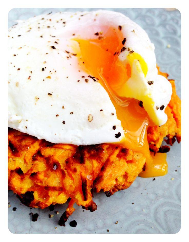 Sweet Potato Cakes & Poached Egg   Yummmm   Pinterest
