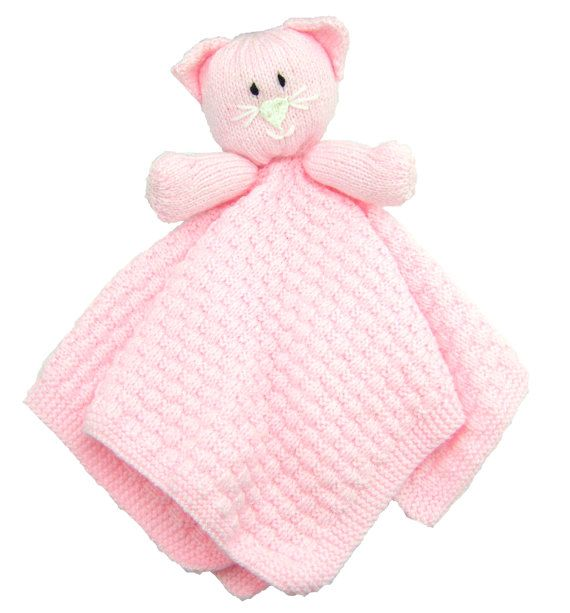Knitting Patterns For Baby Comfort Blankets : Childs Cat Comfort Blanket Knitting Pattern