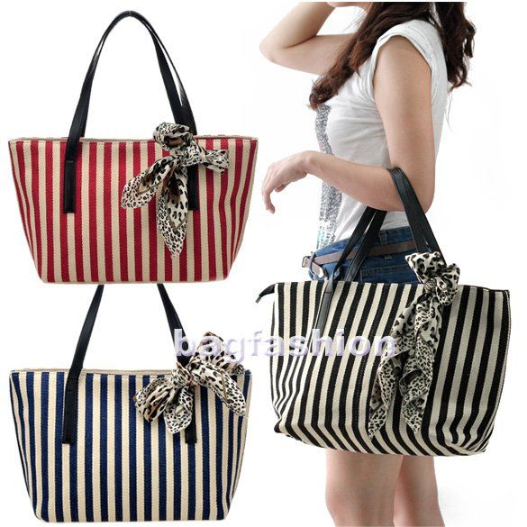 bags fashions Girls Casual Stripe canvas handbag designer Tote Bag ...