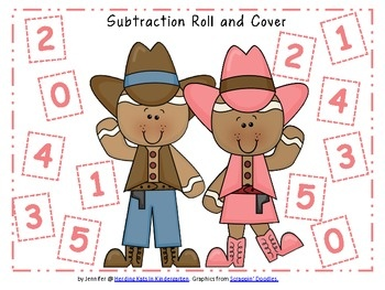 50 Gingerbread Cowboy Roll & Cover Addition & Subtraction Games!