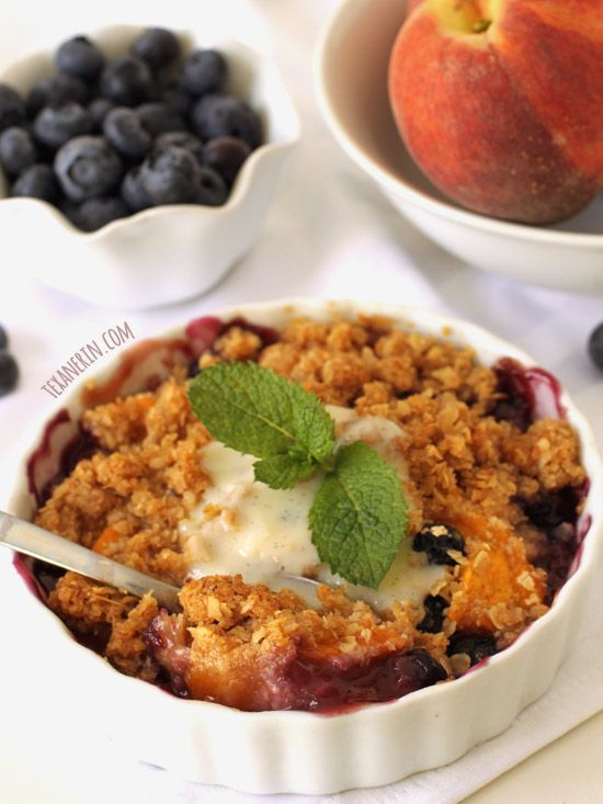 Blueberry Peach Crumble – just uses oats and ground up oats, meaning ...