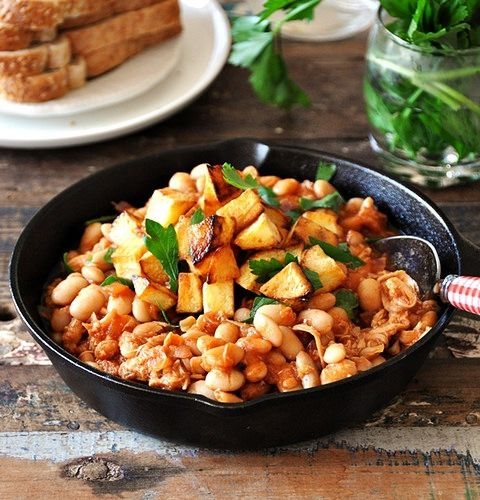 Baked Beans with Crispy Potato Croutons & Roast Chicken Recipe | www ...