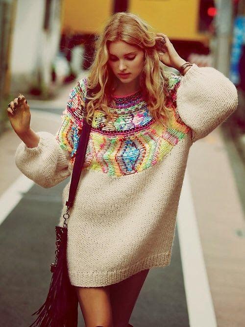 Colorful Long Sweater Dress