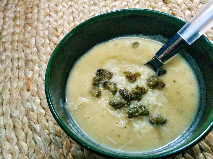 Roasted Cauliflower & Leek Soup with Meyer Lemon and Crispy Capers