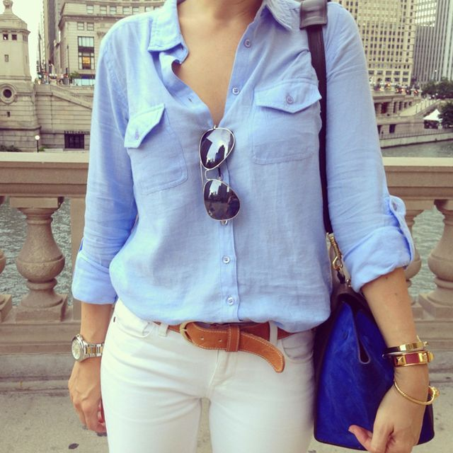 Perfect late summer outfit!  And we all have a chambray shirt, white jeans, brown leather belt & aviators!  I'd definitely pick a better purse.