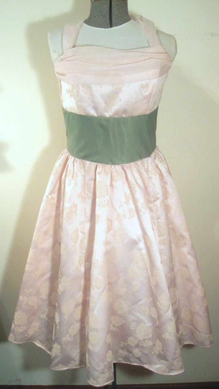 Refashioned/Reloved dress in very pale pink floral jacquard with green satin and chiffon midriff.