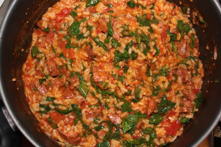 Tomato Sausage and Spinach Risotto | Yum | Pinterest