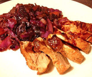 beer-marinated pork tenderloin w/ red cabbage
