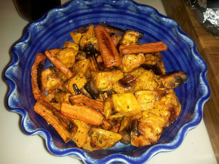 Rosemary roasted sweet potao and carrots | MMMMFFFFMMM sry..mouth was ...