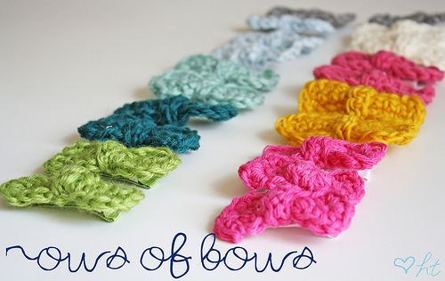 crocheted hair bows Crochet Projects Pinterest