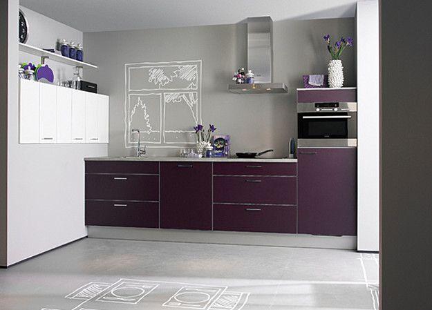 Moderne rechte keuken in de kleur paars  Keuken  Pinterest