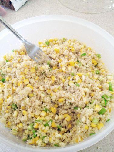 quinoa, corn, scallions, lemon @Kayla Barkett Casale this is for din ...