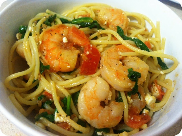 Taste and See: Shrimp Pasta with Tomatoes, Spinach and Feta