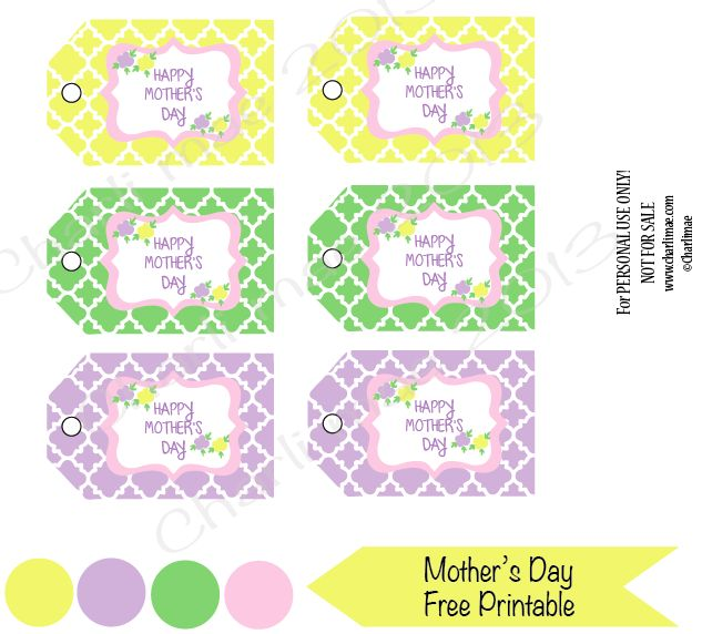 Mother's Day FREE Printable- Gift Tags   Grace first bday   Pinterest