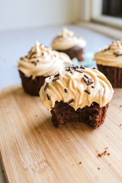 fudge brownie cupcakes with PB frosting - OMG!! so easy too!
