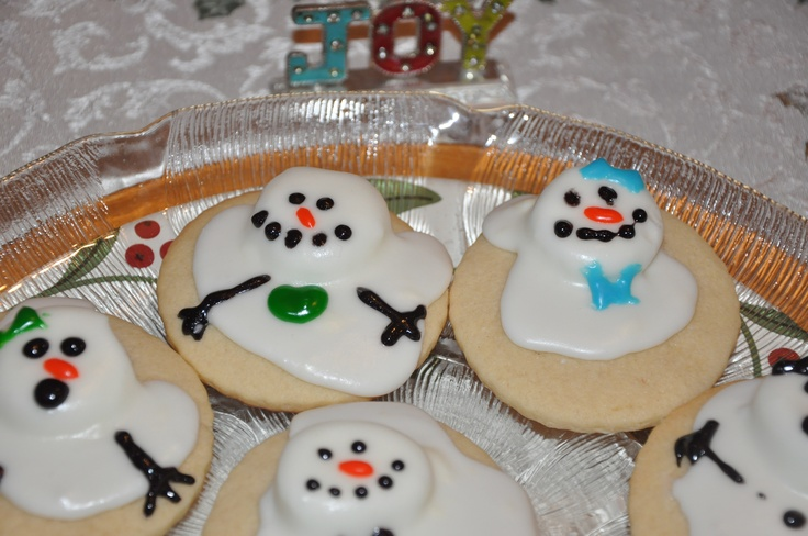 Snowman melting sugar cookies | Xmas Crafts | Pinterest