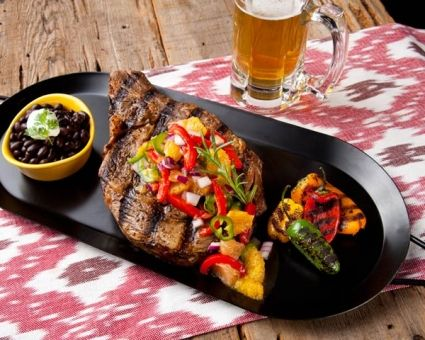 Grilled Cowboy Steaks with Florida Citrus-Roasted Chile Salsa | Recipe