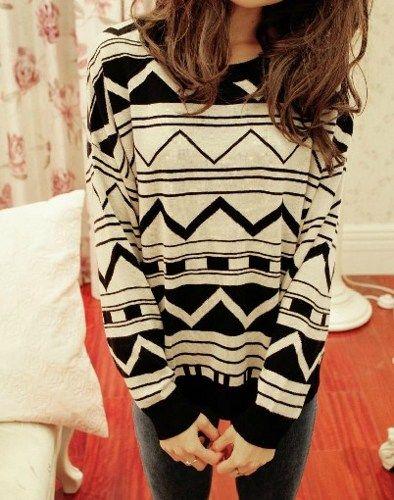 Aztec white amp black sweater my style
