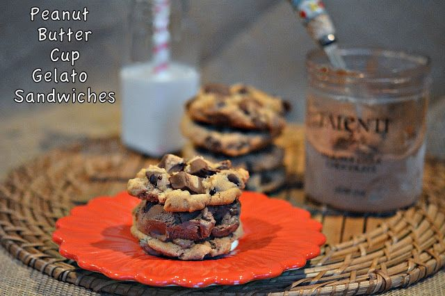 ... PEANUT BUTTER CUP COOKIES STUFFED WITH DOUBLE DARK CHOCOLATE GELATO
