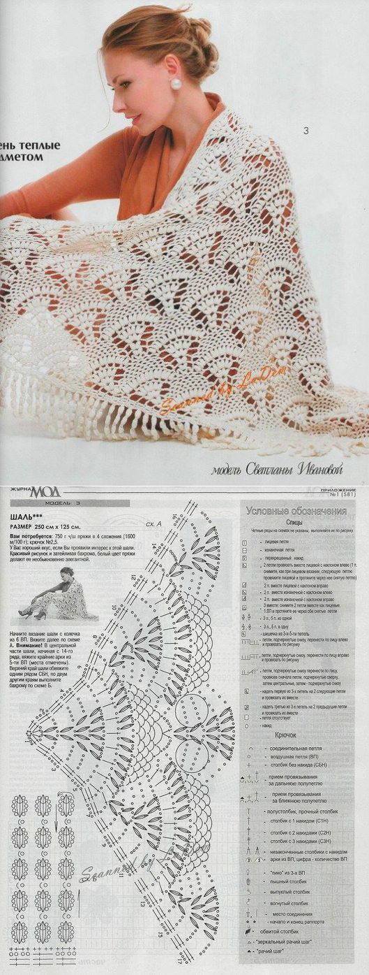 #Crochet_Pattern - Here's a gorgeous Russian #lace shawl pattern with charts. It would take some time to make, but really doesn't look difficult at all :) Enjoy from #KnittingGuru