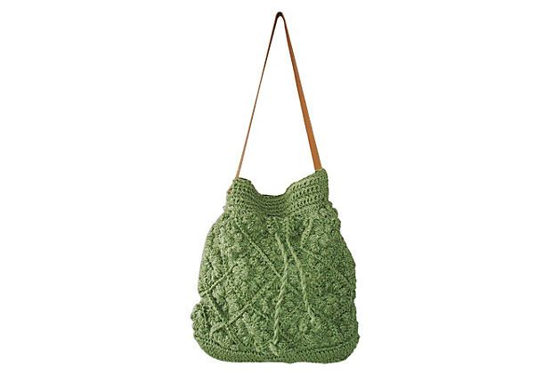 Crochet Bucket Bag : Drawstring Crochet Bucket Bag, Green on OneKingsLane.com