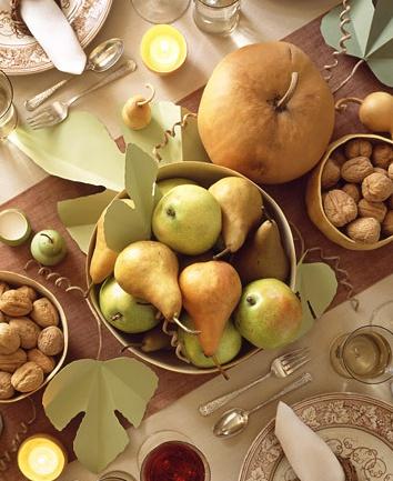 martha stewart living fall thanksgiving table pears pumpkins wallnuts