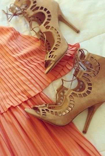 Cut out tan heels #cutout #designtrend #wearabledesign