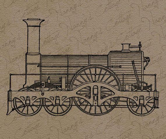 Train Clip Art Illustration Vintage Digital Graphics Instant Download ...