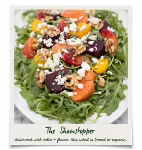 Vegetarian Roasted Beet and Arugula Salad with Walnuts and Feta Cheese