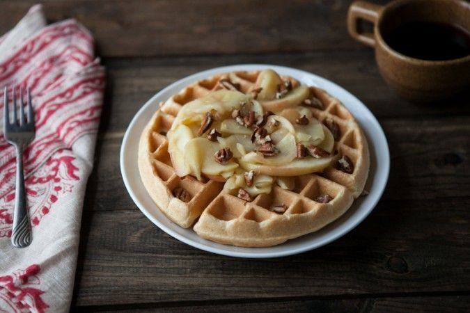 Naturally Ella | Brown Butter Waffles with Honey-Apples and Pecans ...