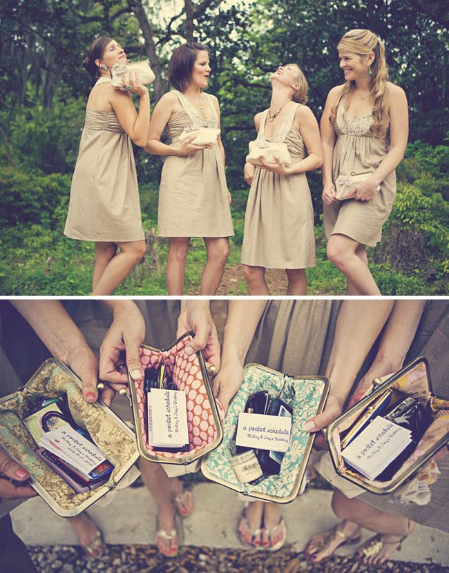 Clutches with essentials/schedules/ thank you note for the day - adorable bridesmaids gift