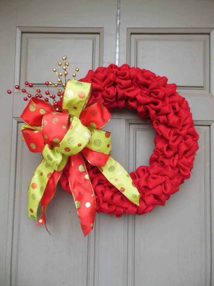 Christmas burlap wreath to cute christmas pinterest Burlap xmas wreath