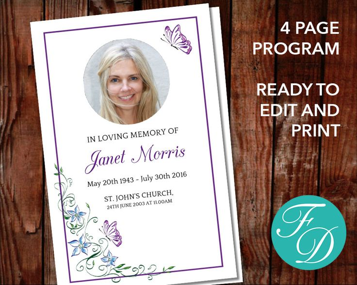 Funeral program template, order of service, memorial program, memorial service (Butterfly Garden) by FuneralDesigns on Etsy