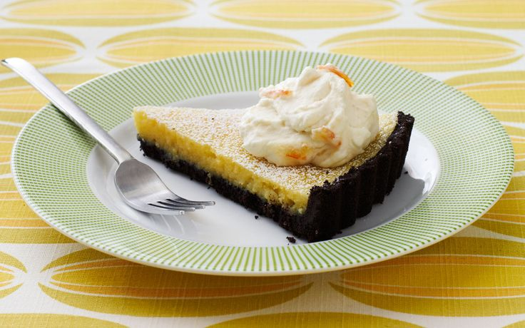 Lemon Tart with Chocolate Cookie Crust and Marmalade Cream