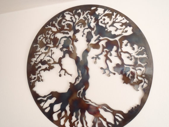 tree of life large wall decor metal art heat colored. Black Bedroom Furniture Sets. Home Design Ideas