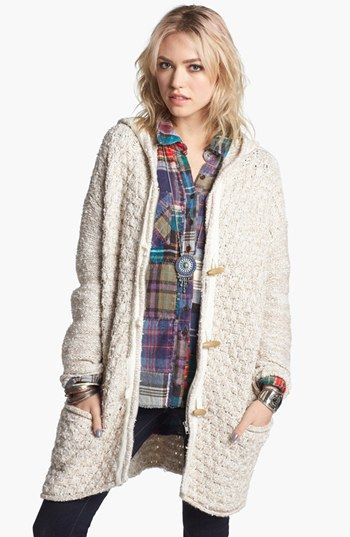 cream oatmeal open sweater hoodie duster
