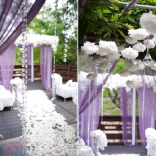 white and lilac wedding ceremony decor w e d d i n g s t. Black Bedroom Furniture Sets. Home Design Ideas