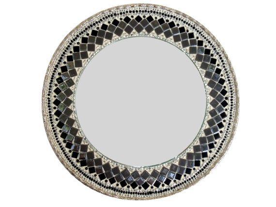 Round Black Gray Silver Mosaic Mirror Geometric