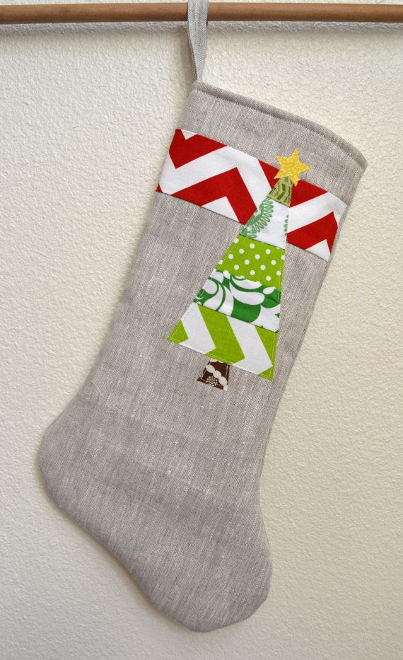 Modern linen christmas stocking red chevron stripe with long patchw