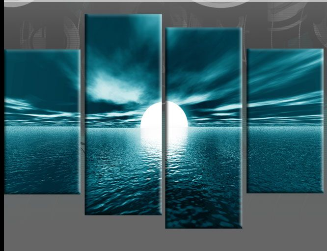Large teal seascape sunset canvas pictures wall art split for Teal wall art