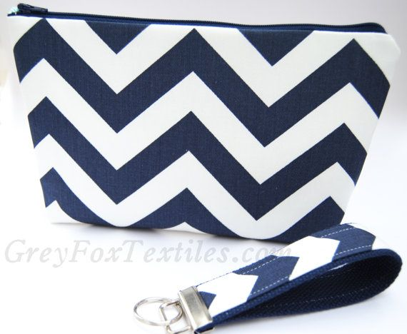 Navy Blue chevron clutch, cosmetic case, zipper pouch, makeup bag ...