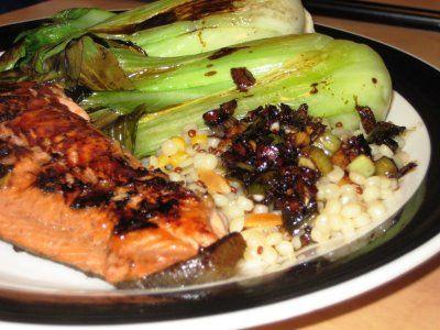 Firecracker Salmon and Soy-Glazed Baby Bok Choy