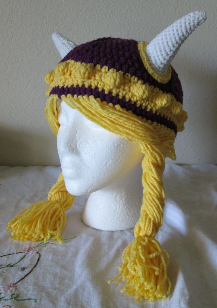 Crochet Minnesota Vikings Hat My Crocheted Creations Pinterest