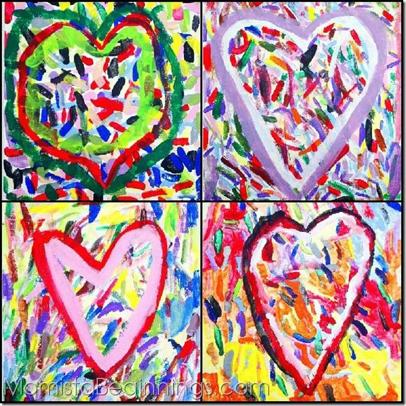 valentine's day melted crayon art