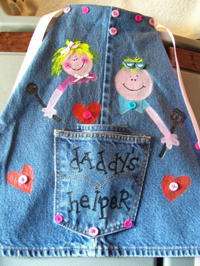 "Don't throw away those outgrown jeans! Recycle them into a piece of clothing. She is going to be 3 soon and is quite the little ""helper"" and a wee-bit the daddy's girl. My son barbeques a lot and I thought this would make a cute gift for her."