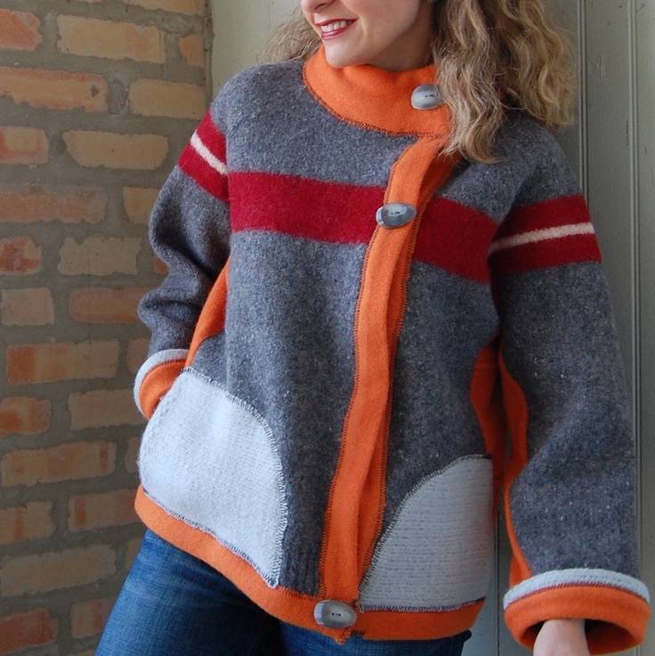 Upcycled clothing, Monks Cardi, womens sweater, size small cardigan, asymmetrical, wool, lambs wool, gray, orange, red. $298.00, via Etsy.